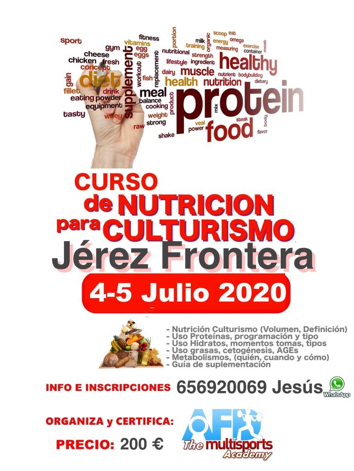 Curso AFD Nutrición para Culturismo en Jerez De la Frontera (Cádiz) 4-5 julio 2020