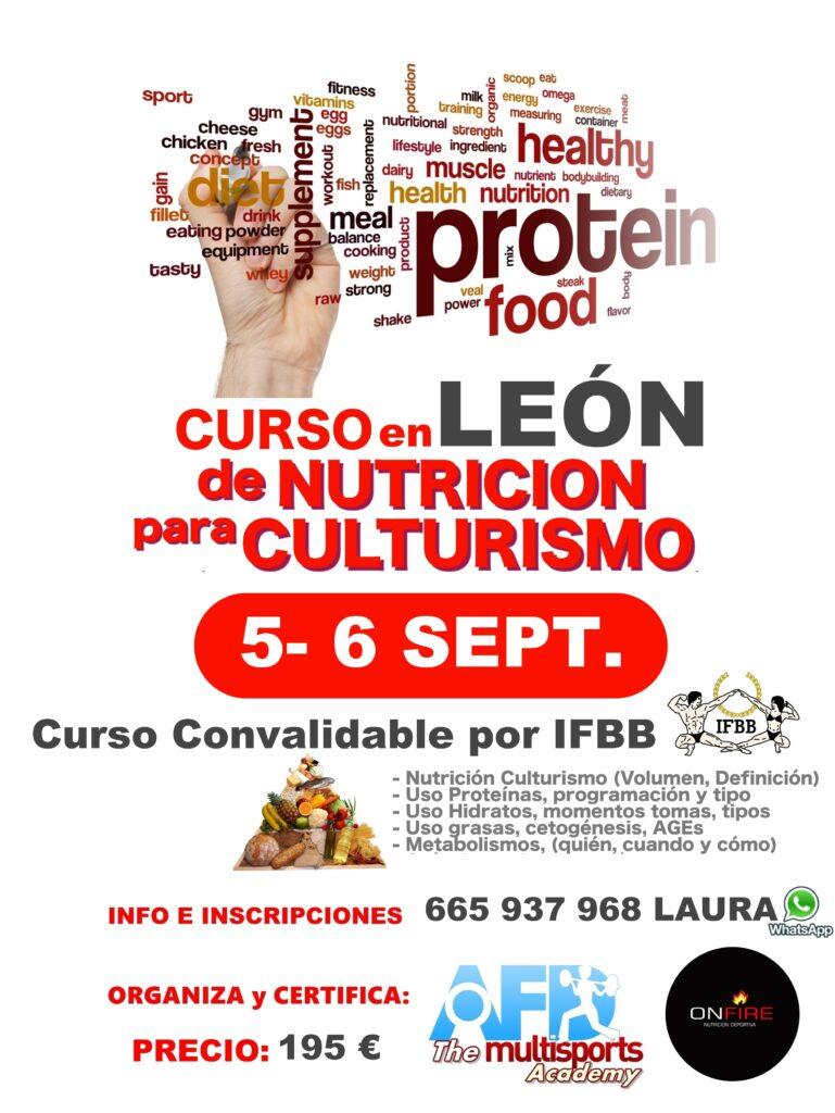 Curso Nutrición Culturismo/Fitness en LEÓN sept 2020