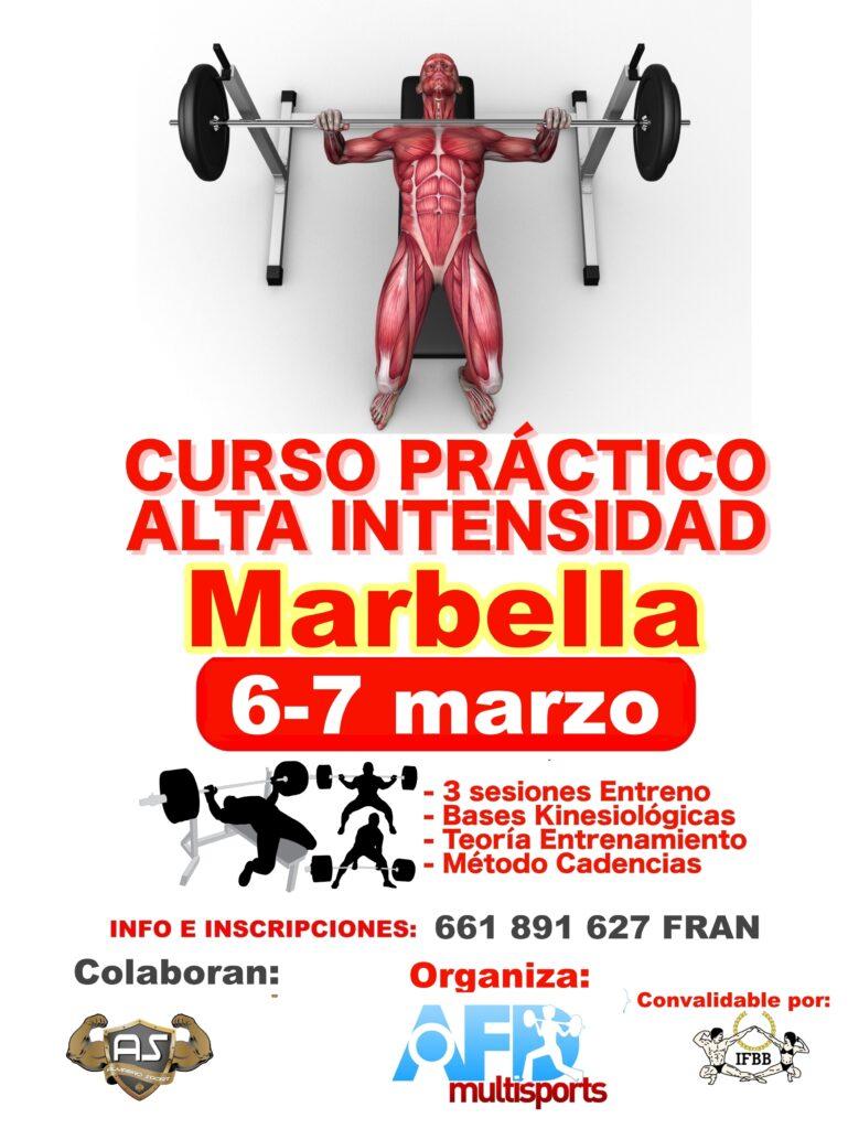Curso AFD Entrenamiento ALTA INTENSIDAD en MARBELLA (marzo 2021)