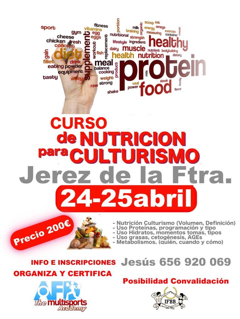 Curso AFD Nutrición para Culturismo en Jerez De la Frontera (Cádiz) 24 y 25 abril 2021