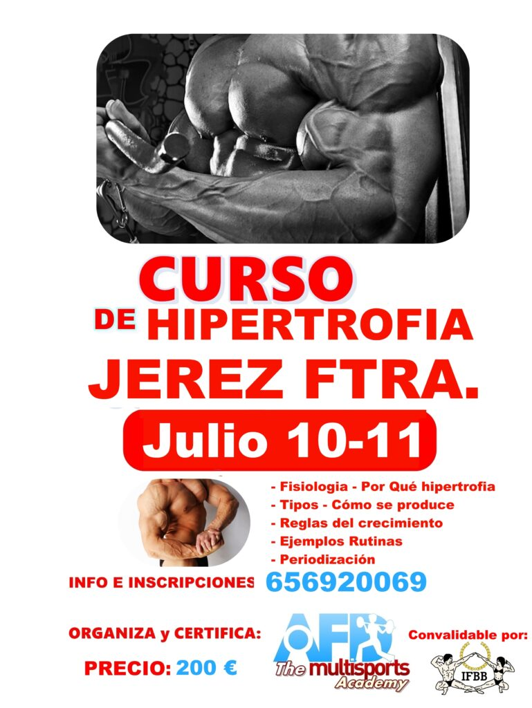 CURSO AFD Hipertrofia en Jerez de la Frontera julio 2021
